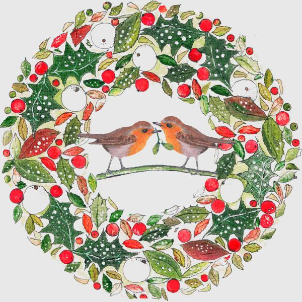 1418 Wreath with romantic robin