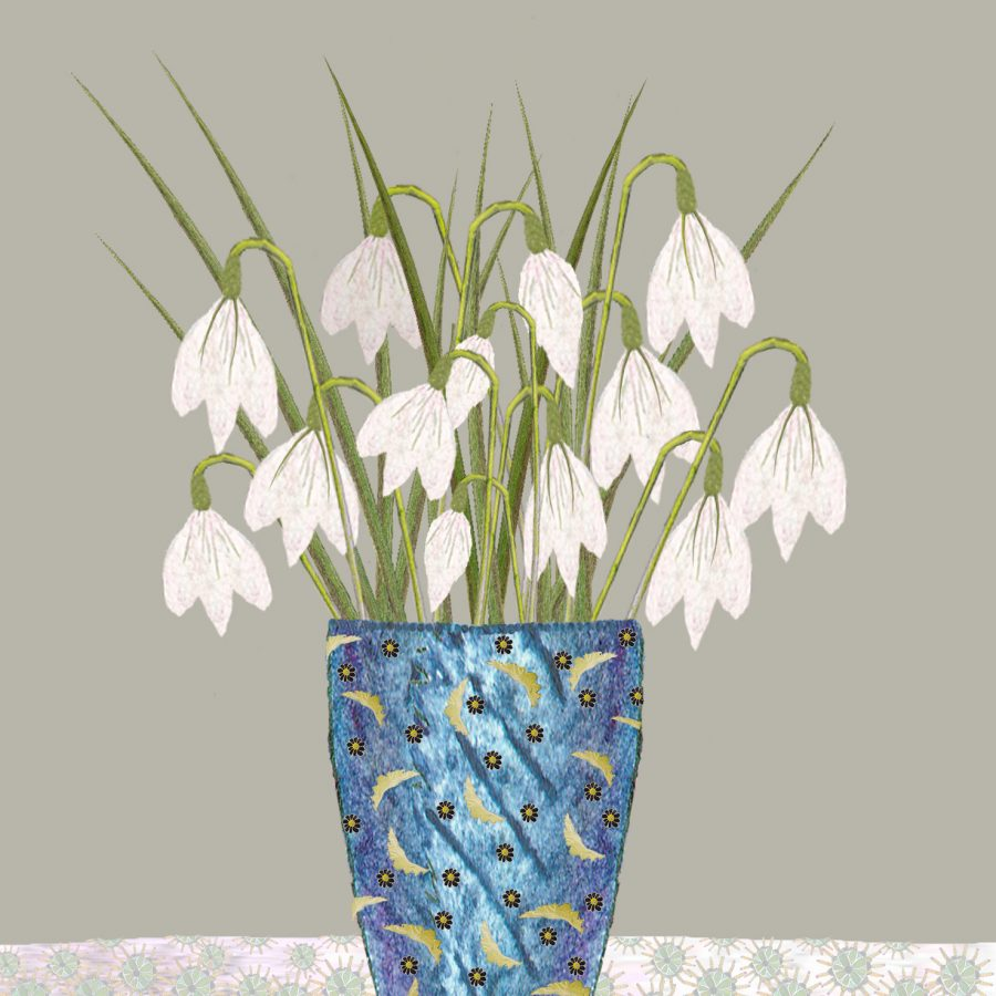 2049 Vase of snowdrops flat